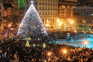 Syracuse's annual Christmas tree lighting ceremony is held Friday evening at Clinton Square in downtown Syracuse.   Jim Commentucci / The Post-Standard